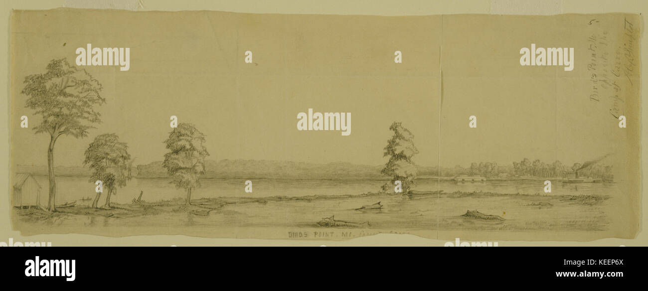 Pencil Drawing,  Bird's Point, Mo. opposite the Camp at Cairo  by Alexander Simplot Stock Photo