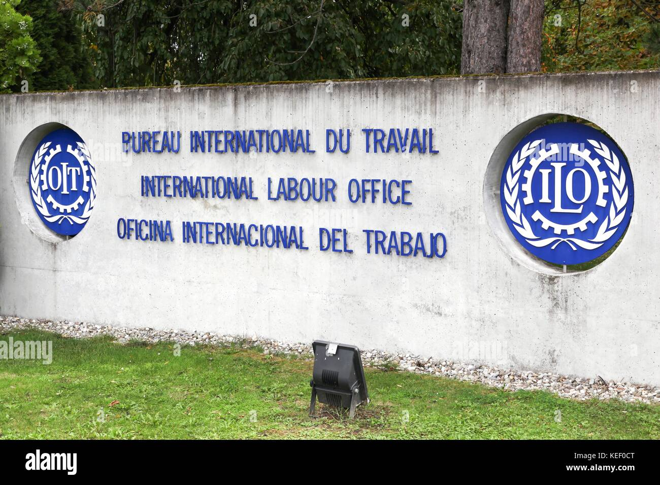 Geneva, Switzerland - October 1, 2017: International labour office logo on a wall. - Stock Image