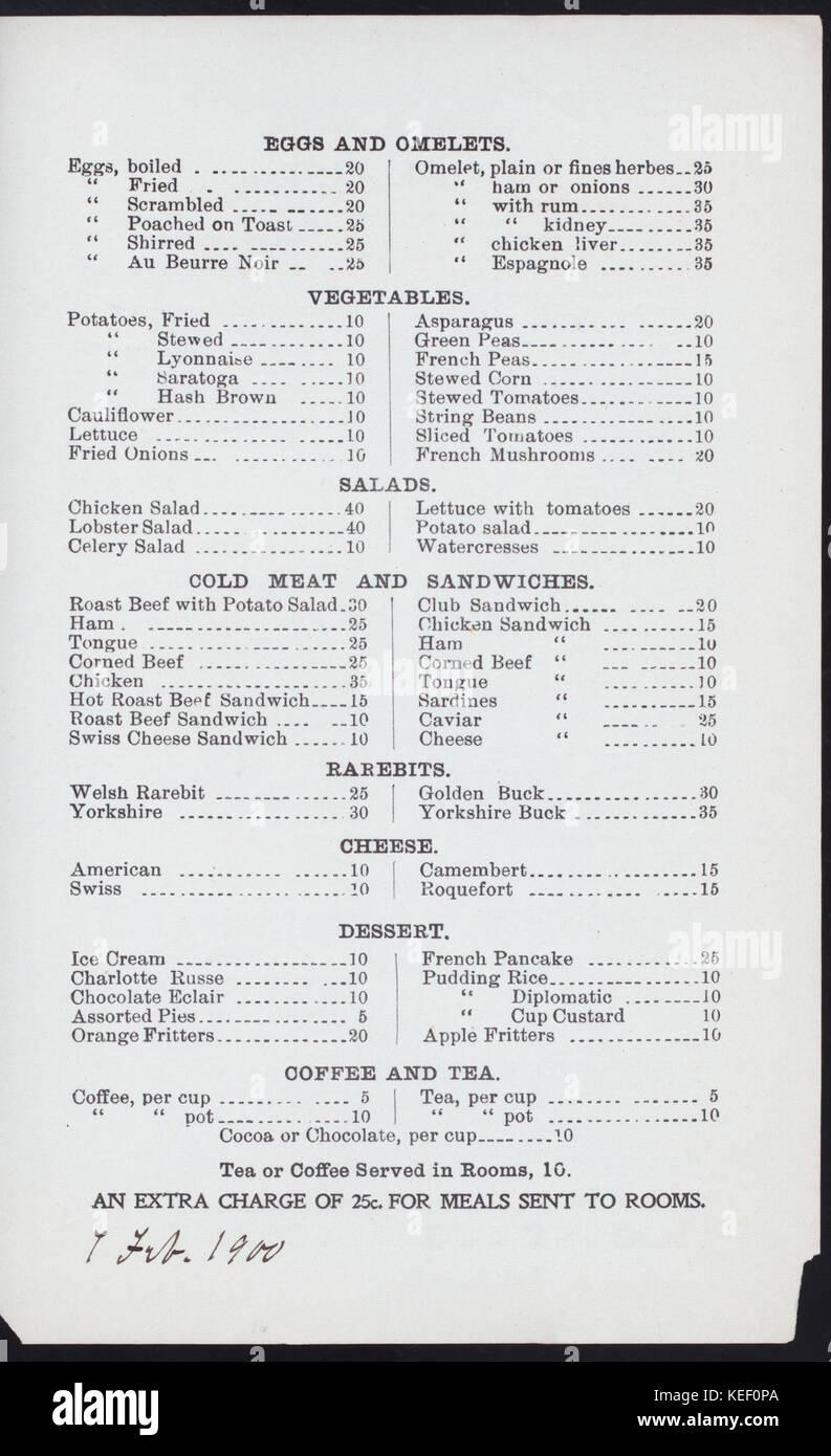 DAILY MENU (held by) KNICKERBOCKER HOTEL RESTAURANT (at)  384 AND 385 WEST STREET (NEWYORK, NY)  (REST;) (NYPL Hades Stock Photo