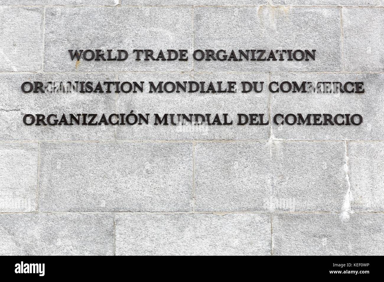 World Trade Organization inscription on a wall - Stock Image