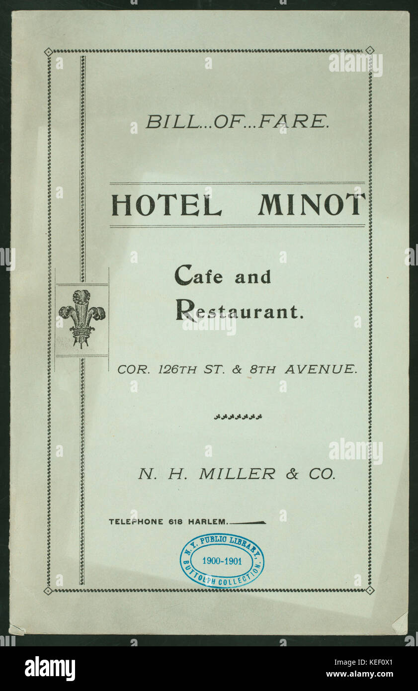 CAFE & RESTAURANT MENU (held by) MINOT HOTEL (at) NEW YORK