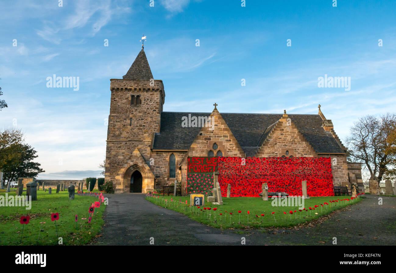 Aberlady, East Lothian, Scotland, United Kingdom. 20th Oct, 2017. Aberlady Church and churchyard decorated with - Stock Image
