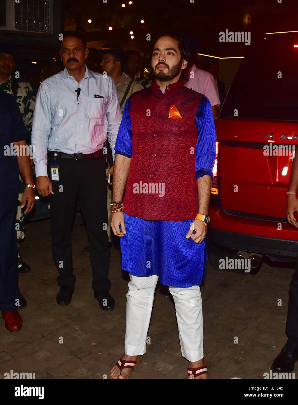 Mumbai, India. 19th Oct, 2017. Anant Ambani attend the Aamir Khan's Diwali party at his recidency in Bandra, - Stock Image