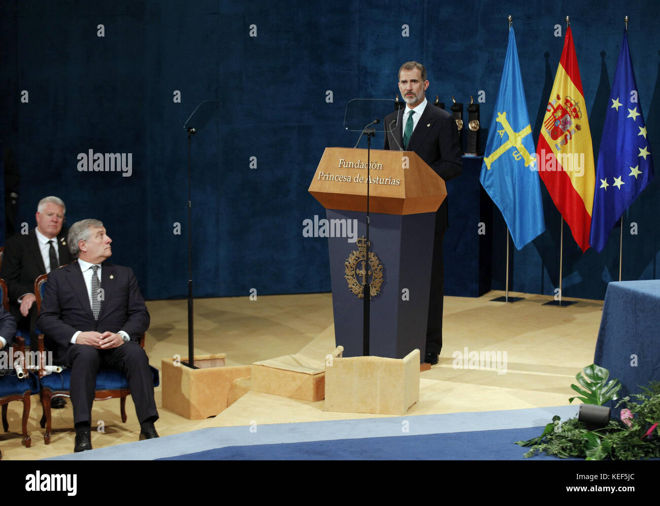 Oviedo, Spain. 20th Oct, 2017. King Felipe VI of Spain (C) speaks during the Princess of Astrurias Awards 2017 at - Stock Image