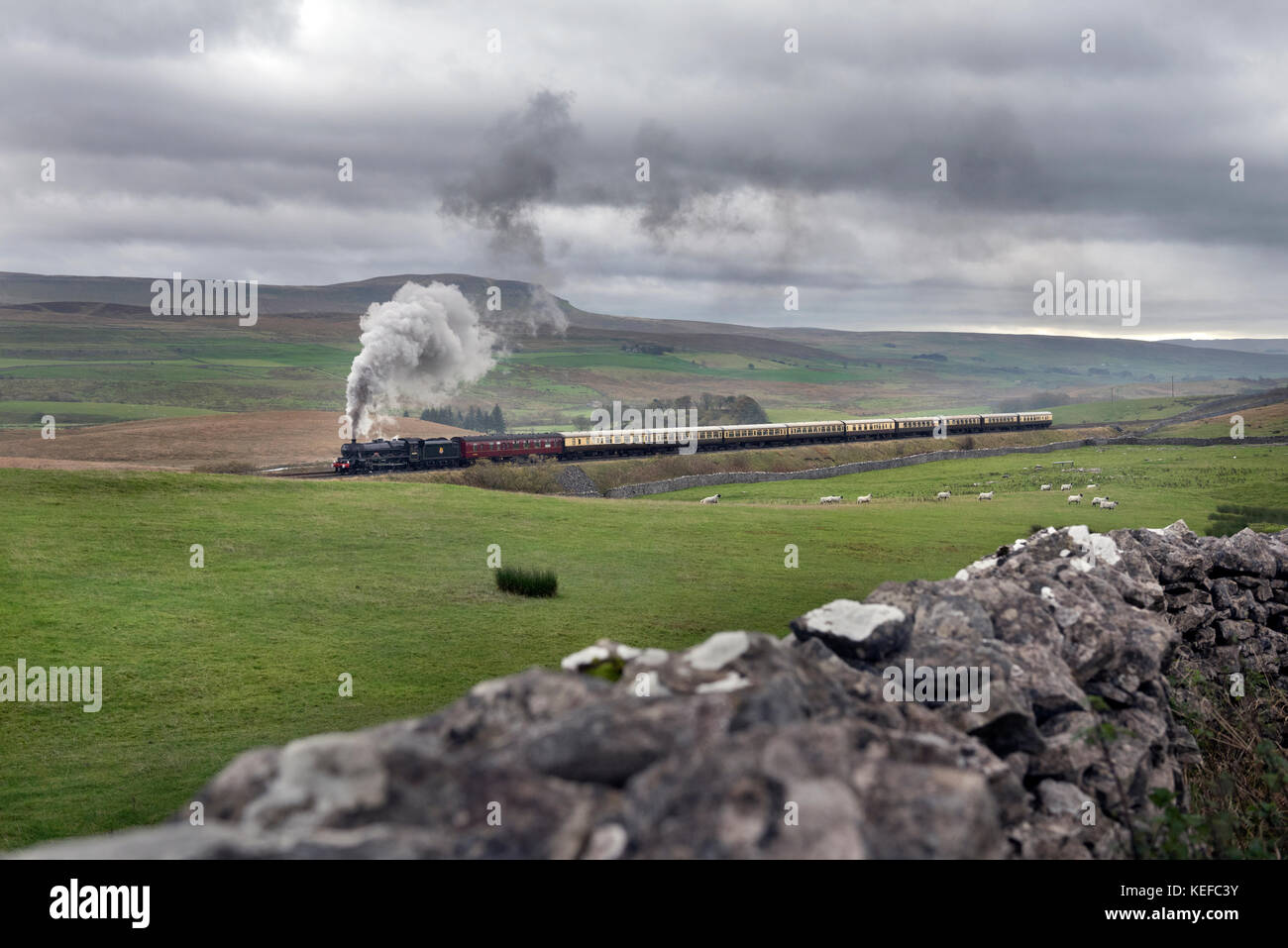 Ribblesdale, UK. 21st Oct, 2017. Steam special on the famous Settle - Carlisle railway line. Under a cloudy sky - Stock Image