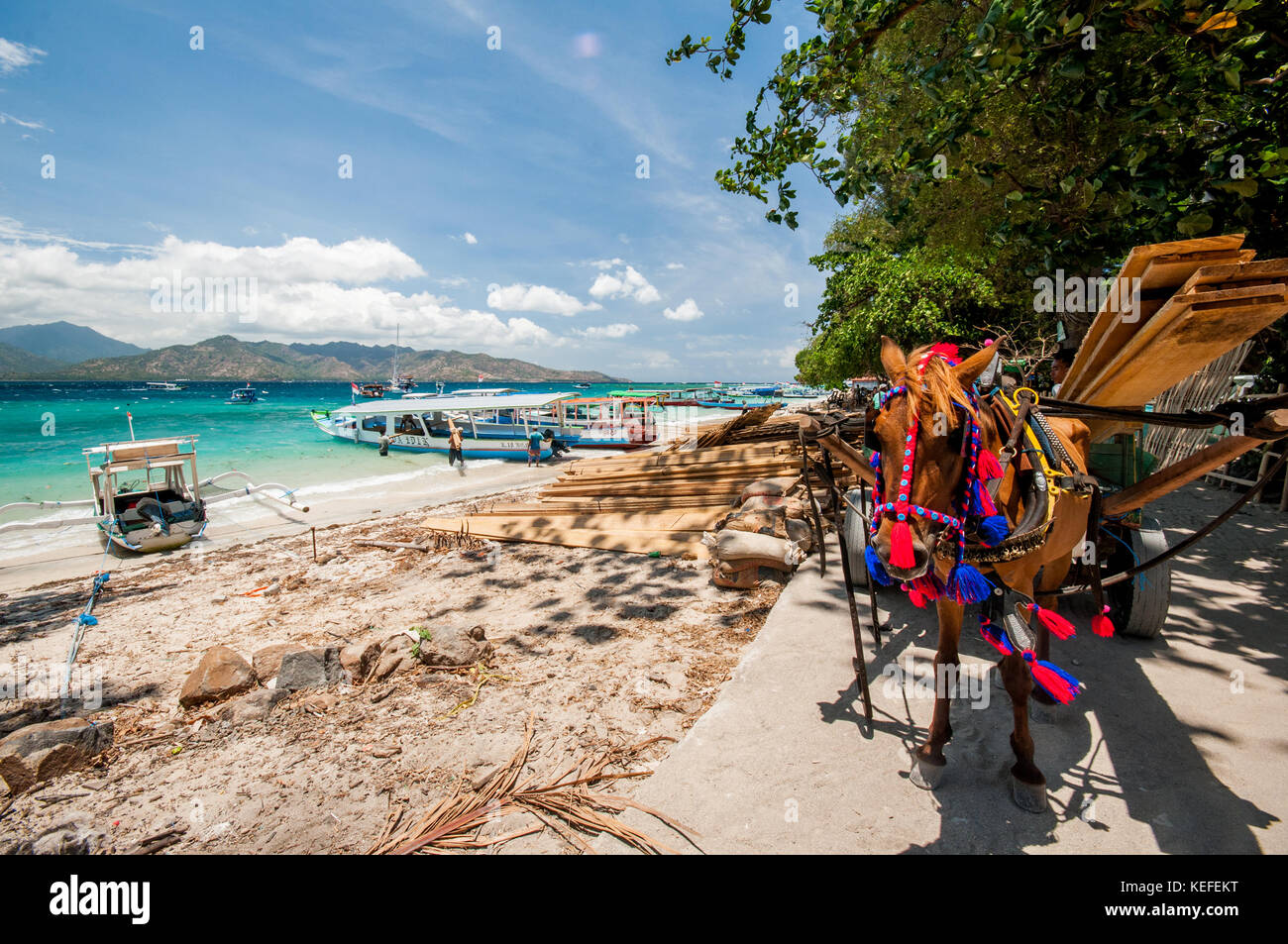 Gili Air, traditional Indonesian boat moored up, Gili Islands, Indonesia, Southeast Asia, Asia - Stock Image