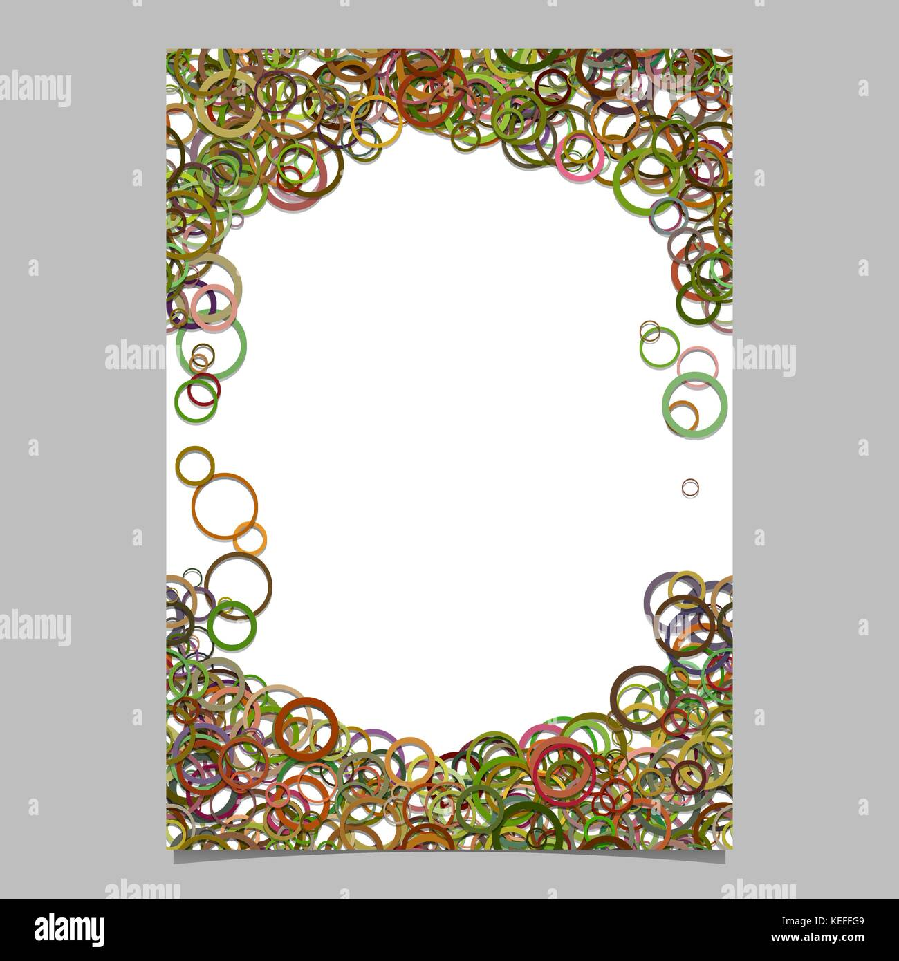 Delightful Color Abstract Random Circle Design Page Template   Blank Stationery Border  Design With Rings