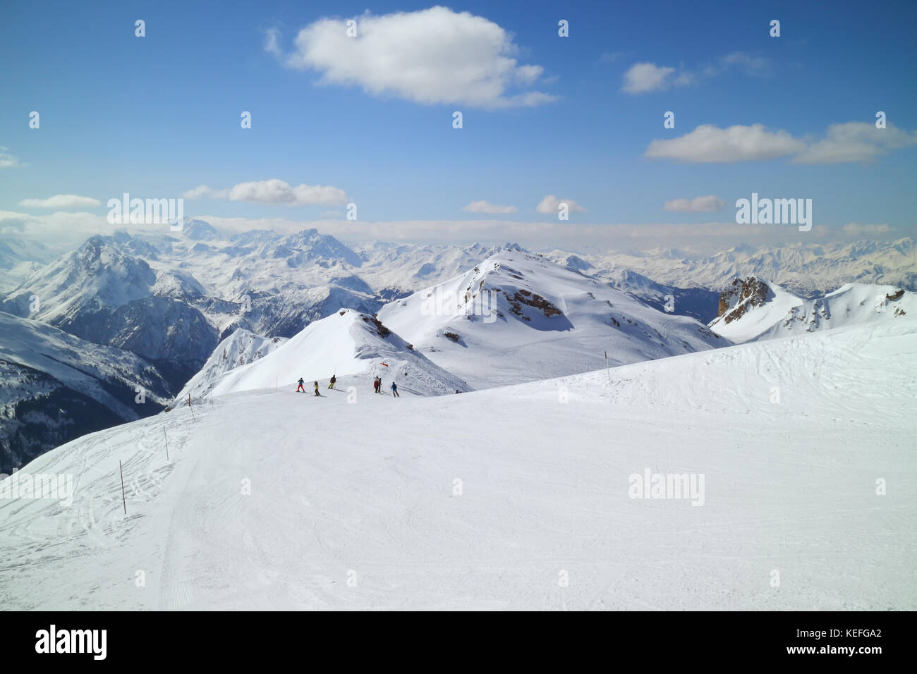 Skiing piste on top of alpine mountain, La Plagne, France - Stock Image