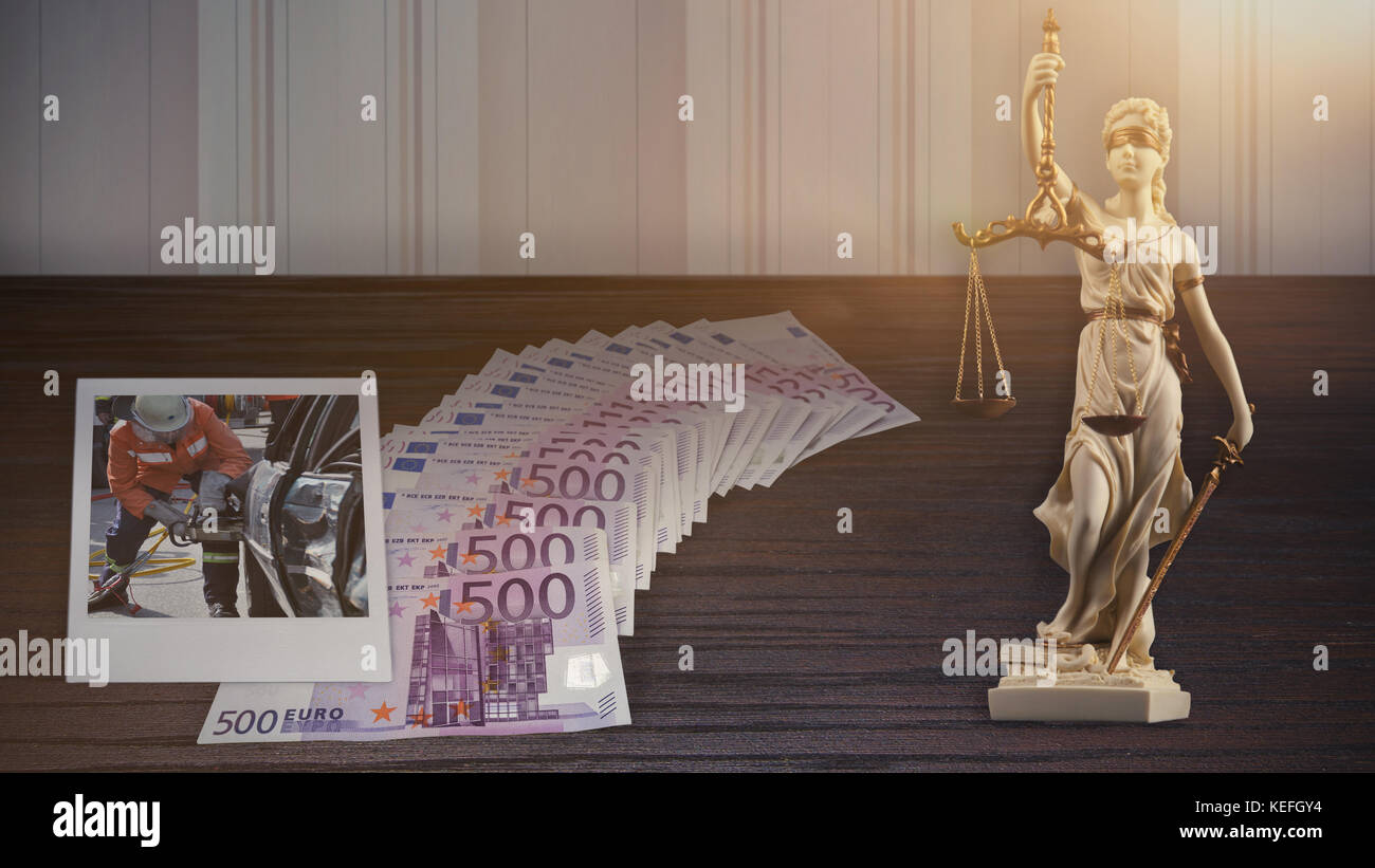 Court - many bank notes, a photo of a traffic accident and a white justitia statue - Stock Image