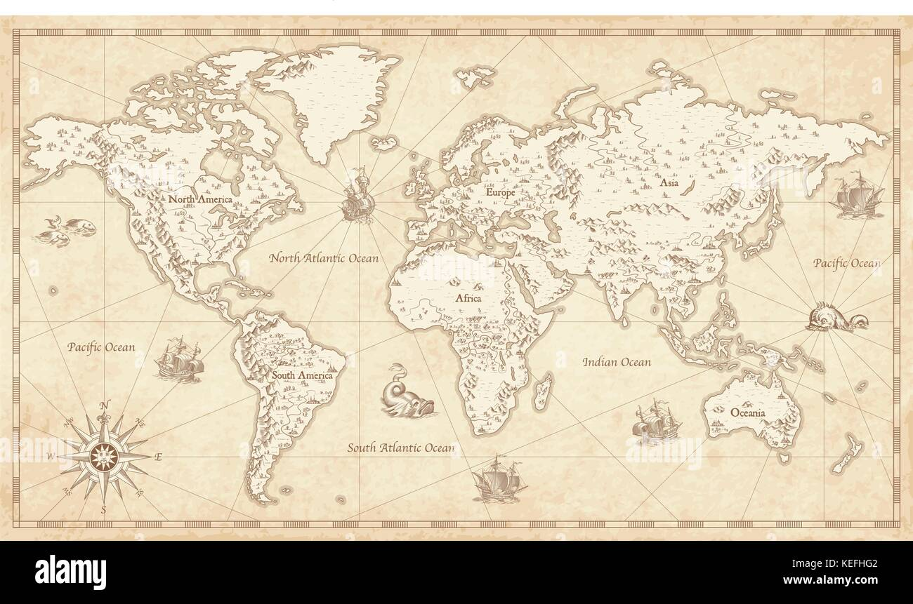 Great detail illustration of the world map in vintage style with great detail illustration of the world map in vintage style with mountains trees cities and main rivers on a old parchment background gumiabroncs Image collections