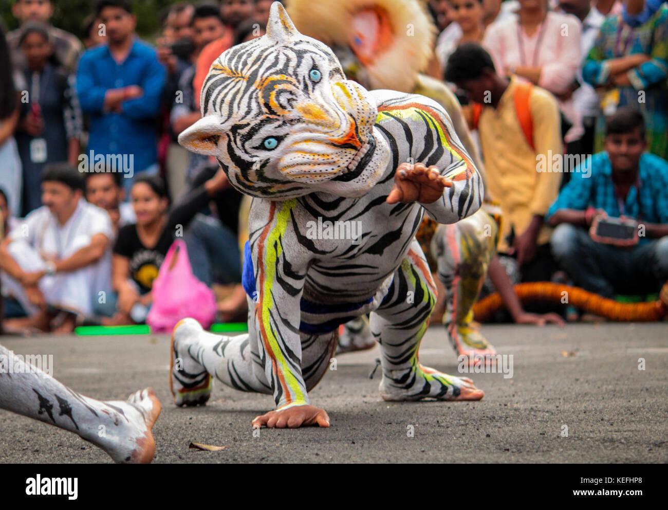 Mangalore Dasara Tiger Dance - Stock Image