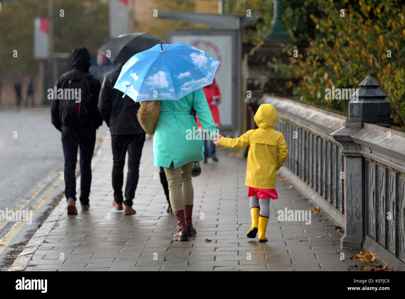 The Met Office issued yellow weather alerts and warned about possible storm damage as heavy showers and strong winds - Stock Image