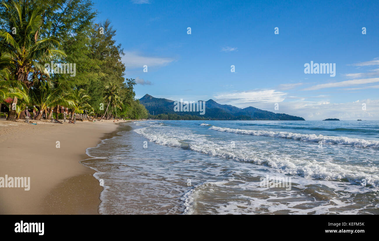 Thailand, Trat Province, Koh Chang Island in the Gulf of Thailand, West Coast, gentle surf at Ao Klong Phrao Beach Stock Photo