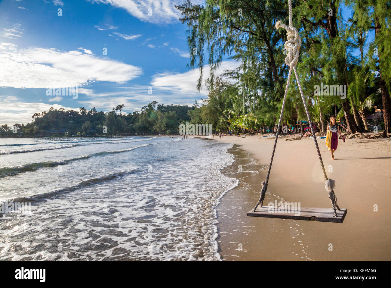 Thailand, Trat Province, Koh Chang Island in the Gulf of Thailand, beach swing Ao Klong Phrao Beach Stock Photo