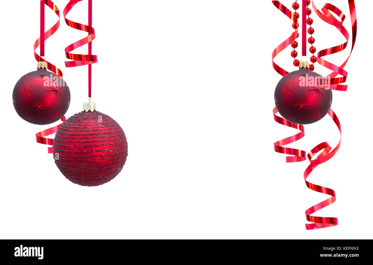 Christmas Ball Garlands.Red Christmas Balls Garlands Frame Isolated On White