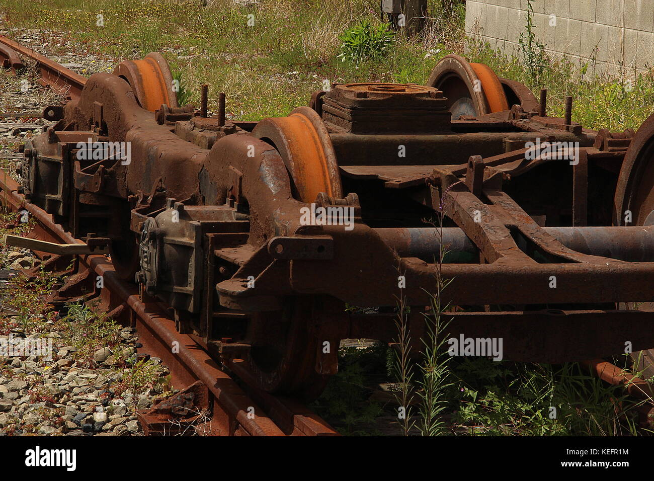Derelict railway locomotives and wagons Stock Photo