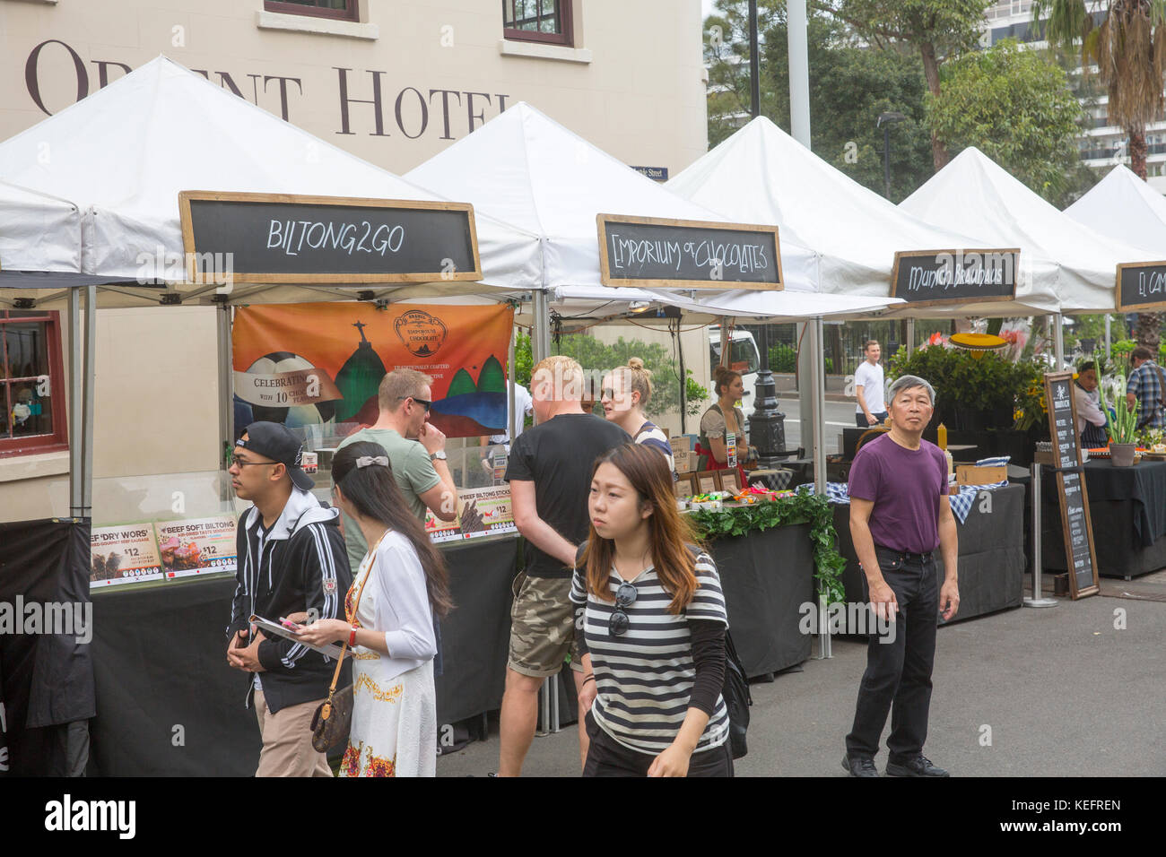 Friday Foodie market at The Rocks in Sydney city centre,Australia - Stock Image