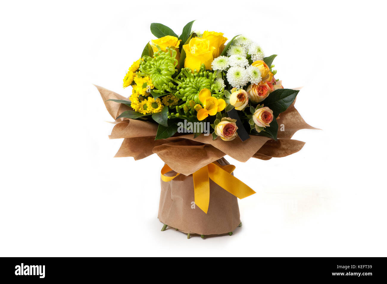 an assortment of flowers in a paper bouquet associated ribbon. Valentine's Day - Stock Image
