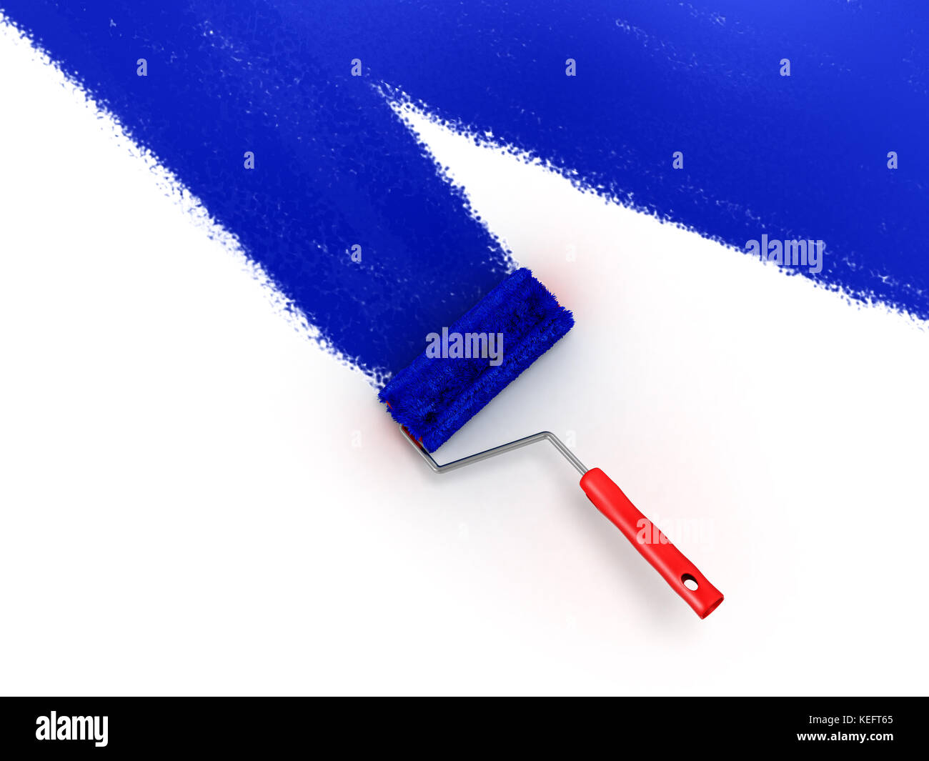 roller brush with blue paint wall - Stock Image