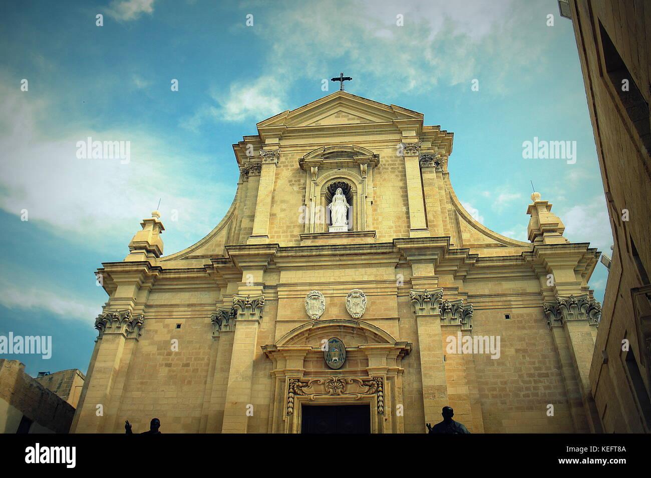 The Gozo Cathedral inside the Citadel of Victoria or Rabat - Victoria, Gozo, Malta - Stock Image