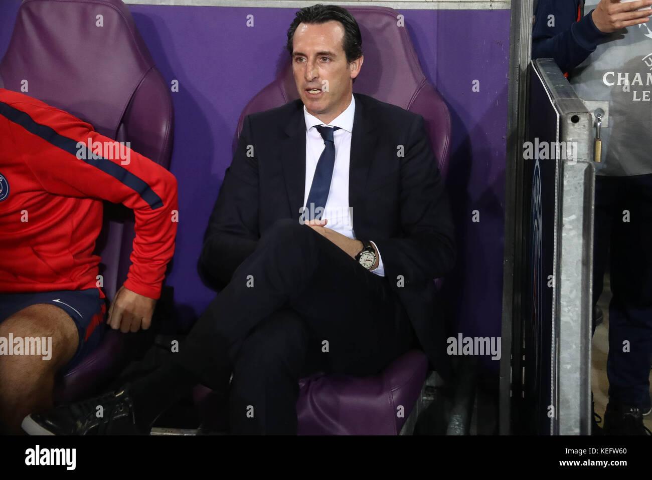 Anderlecht, Belgium. 18 October 2017. Unai Emery (Paris Saint Germain) during the match of Champions League Anderlecht - Stock Image