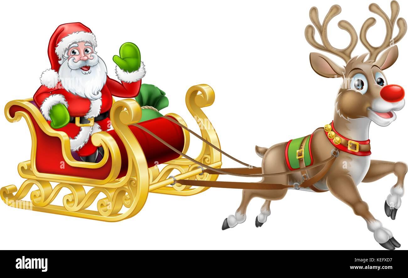 Christmas Santa Claus Sleigh Sled Reindeer - Stock Image