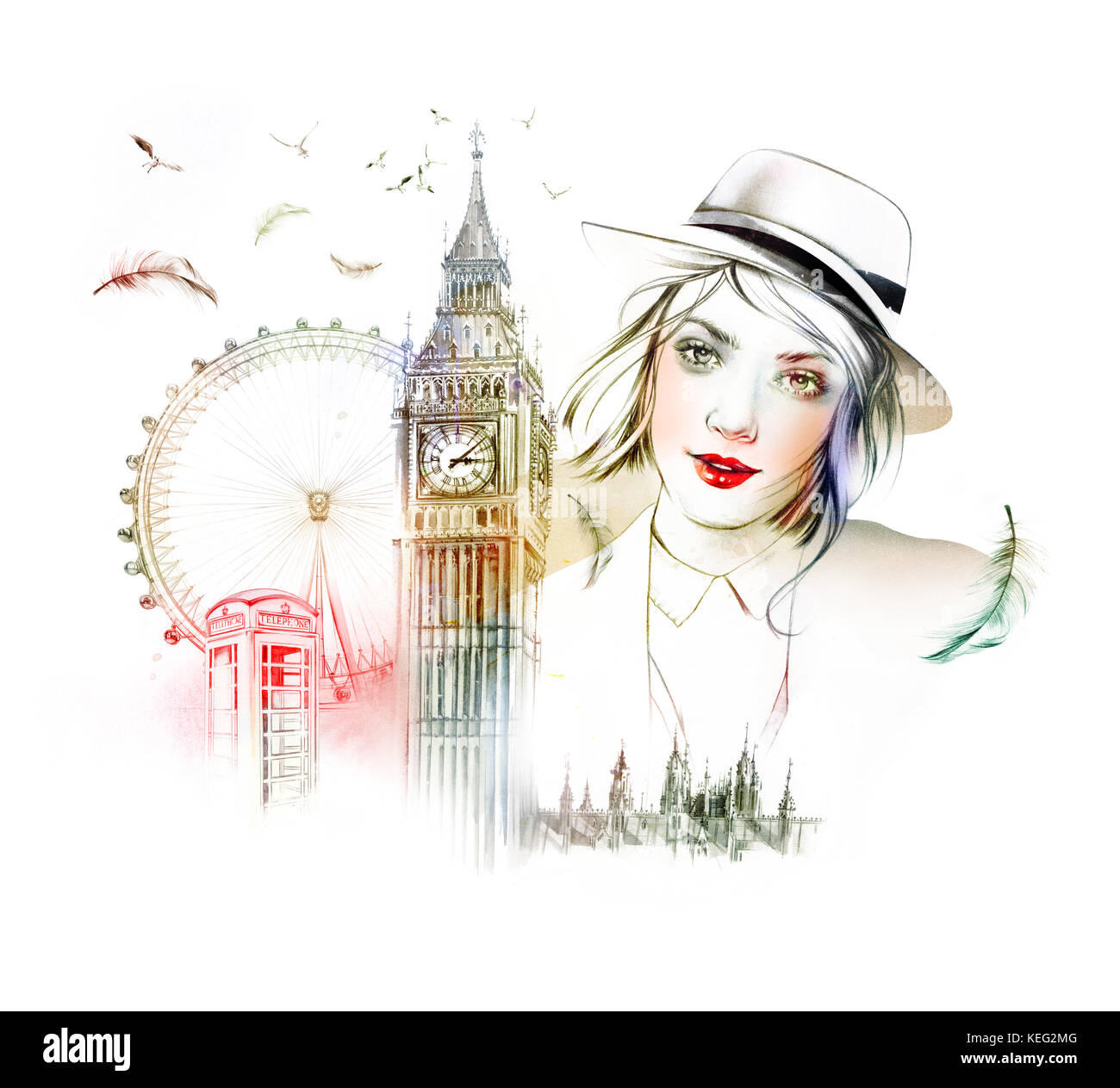 Portrait of young woman with famous buildings - Stock Image