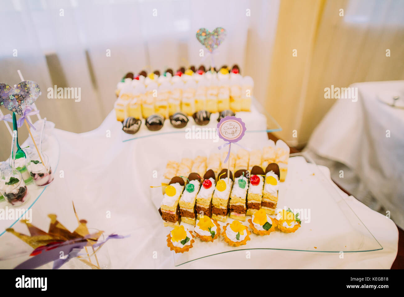 Dessert Wedding Reception Delicious Pieces Of Cakes On The Table