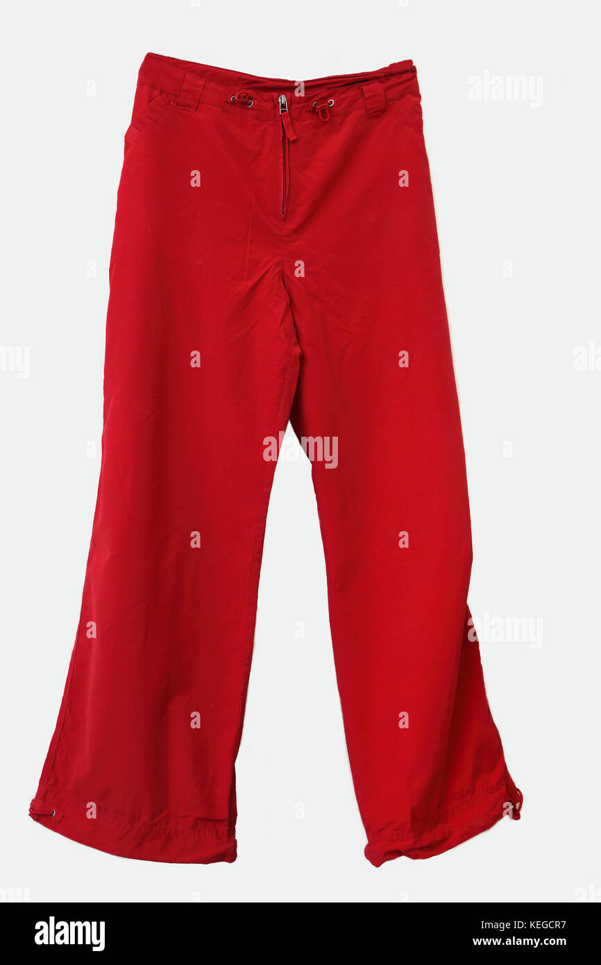 Red Linen Trousers - Stock Image