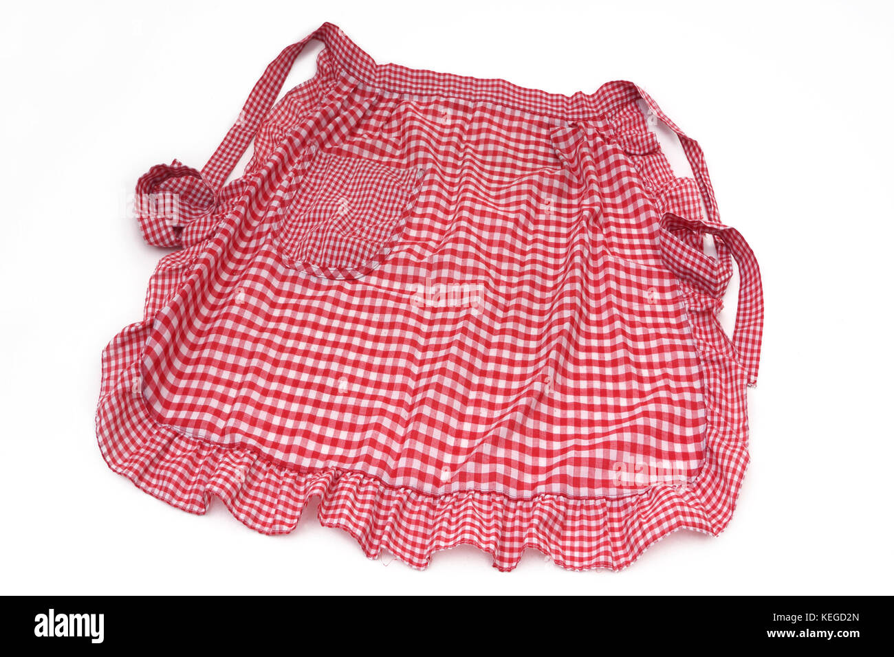 Red and White Checkered Apron - Stock Image