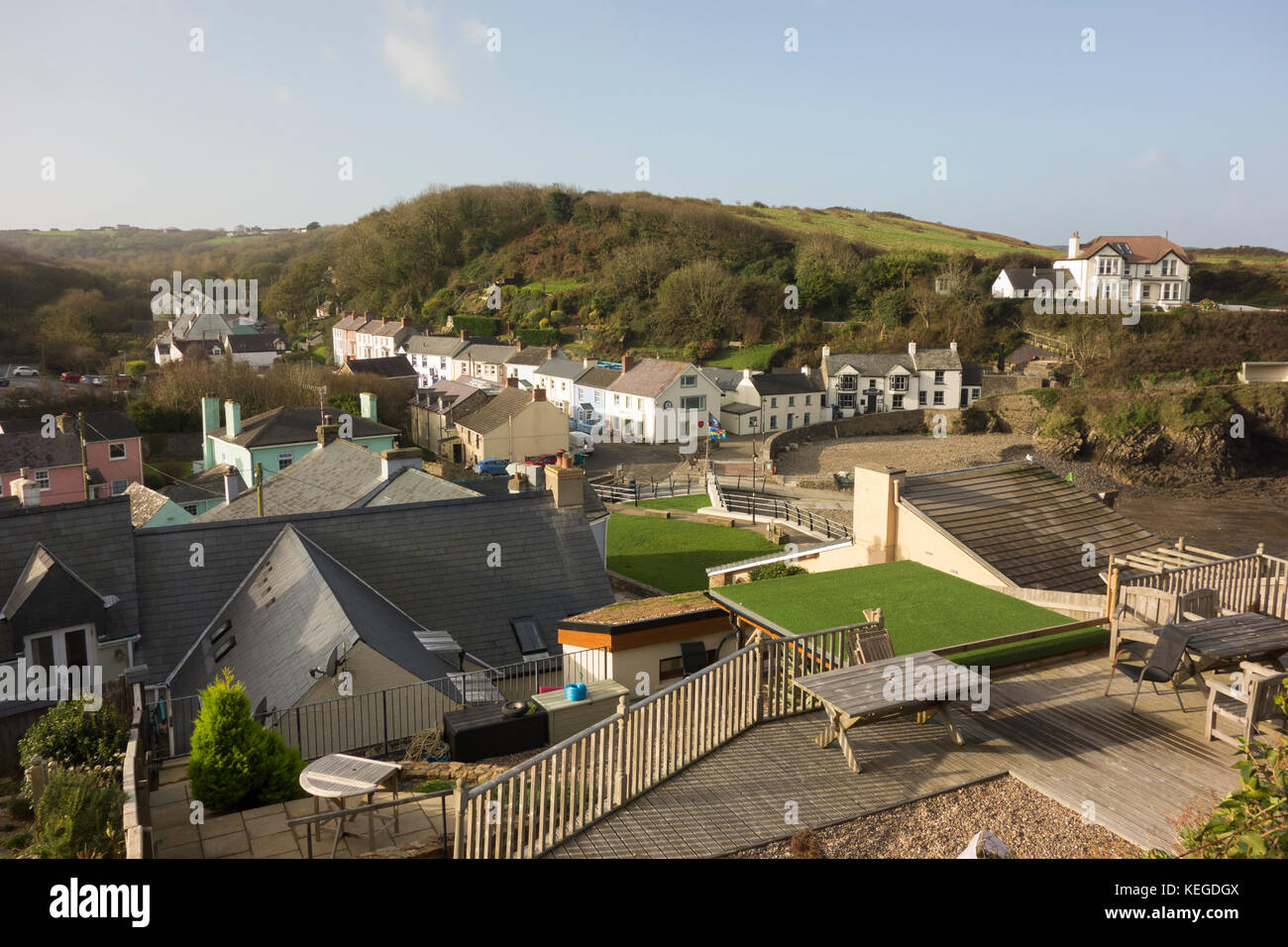 The small coastal village of Little Haven, Pembroke Wales - Stock Image