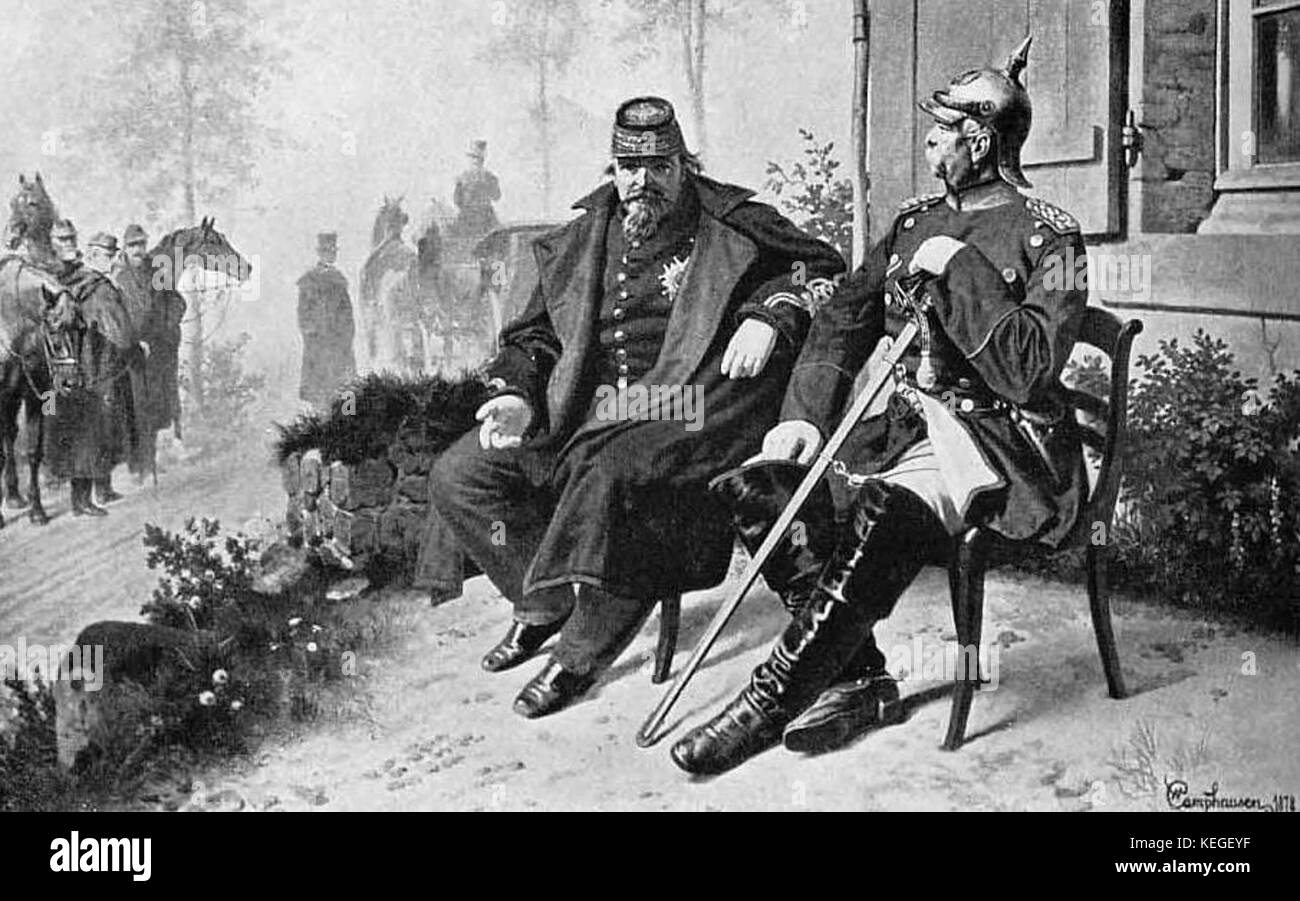 French Emperor Napoleon III (left) as prisoner of Bismarck (right) in the Franco-Prussian War - Stock Image