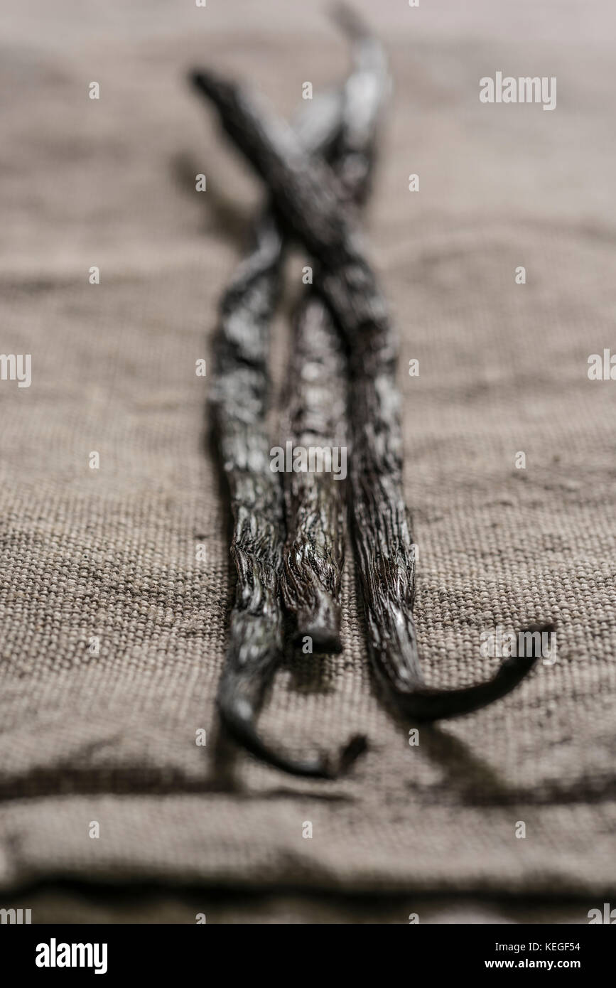 Vanilla pods on a brown linen table cloth. October 2017. PHILLIP ROBERTS - Stock Image