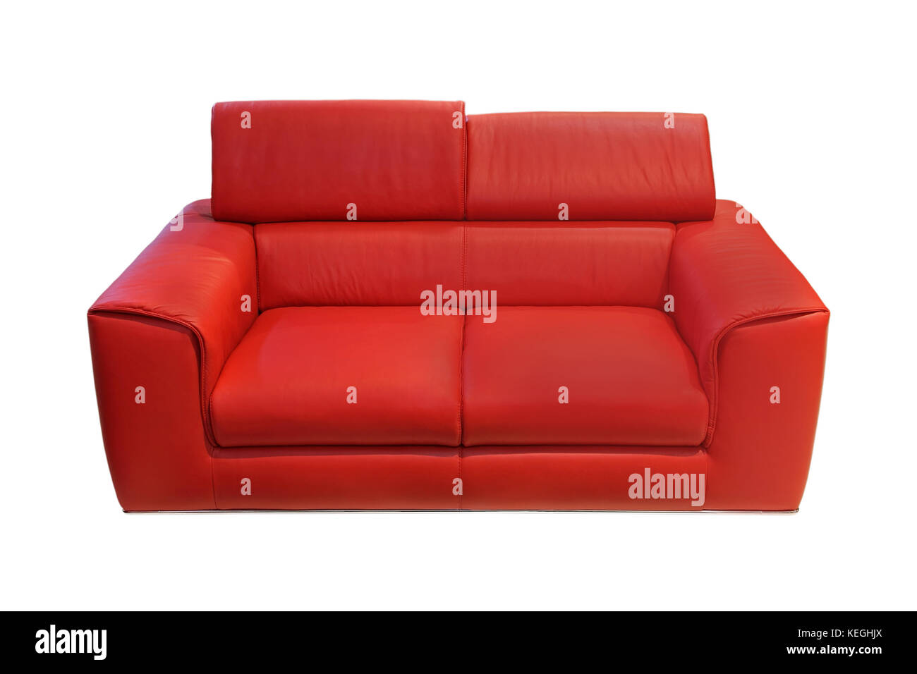 Modern Red Leather Sofa Isolated With Clipping Psth Included   Stock Image