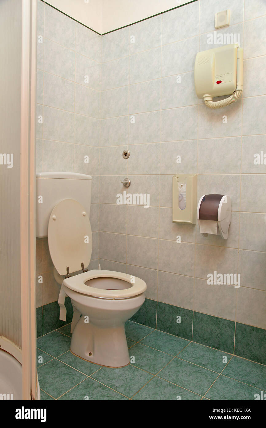 Bathroom interior inside retro hotel with old fixtures Stock Photo ...