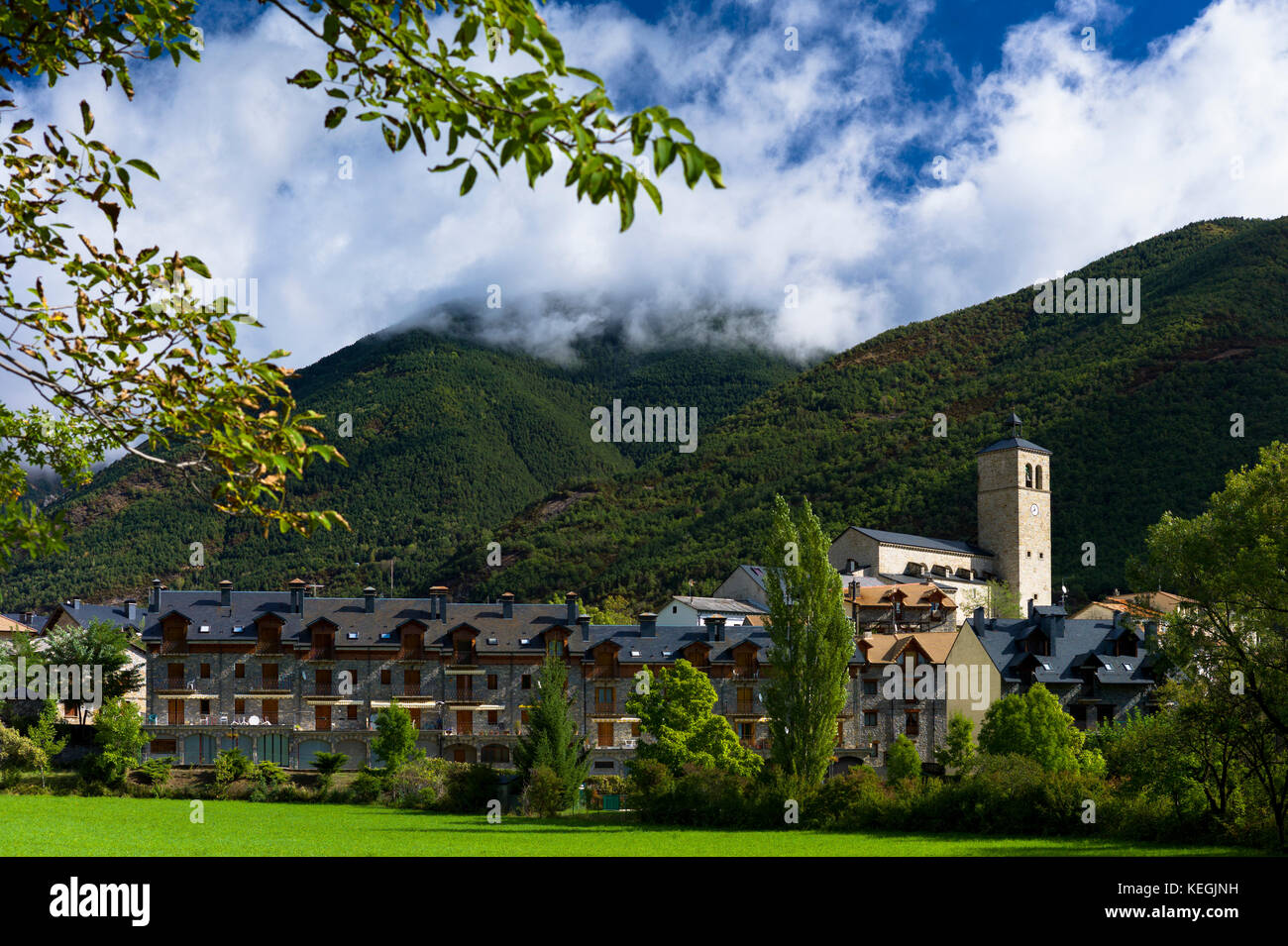 New development in town of Biescas in Valle de Tena, Aragon, Northern Spain. Many Spanish construction projects Stock Photo