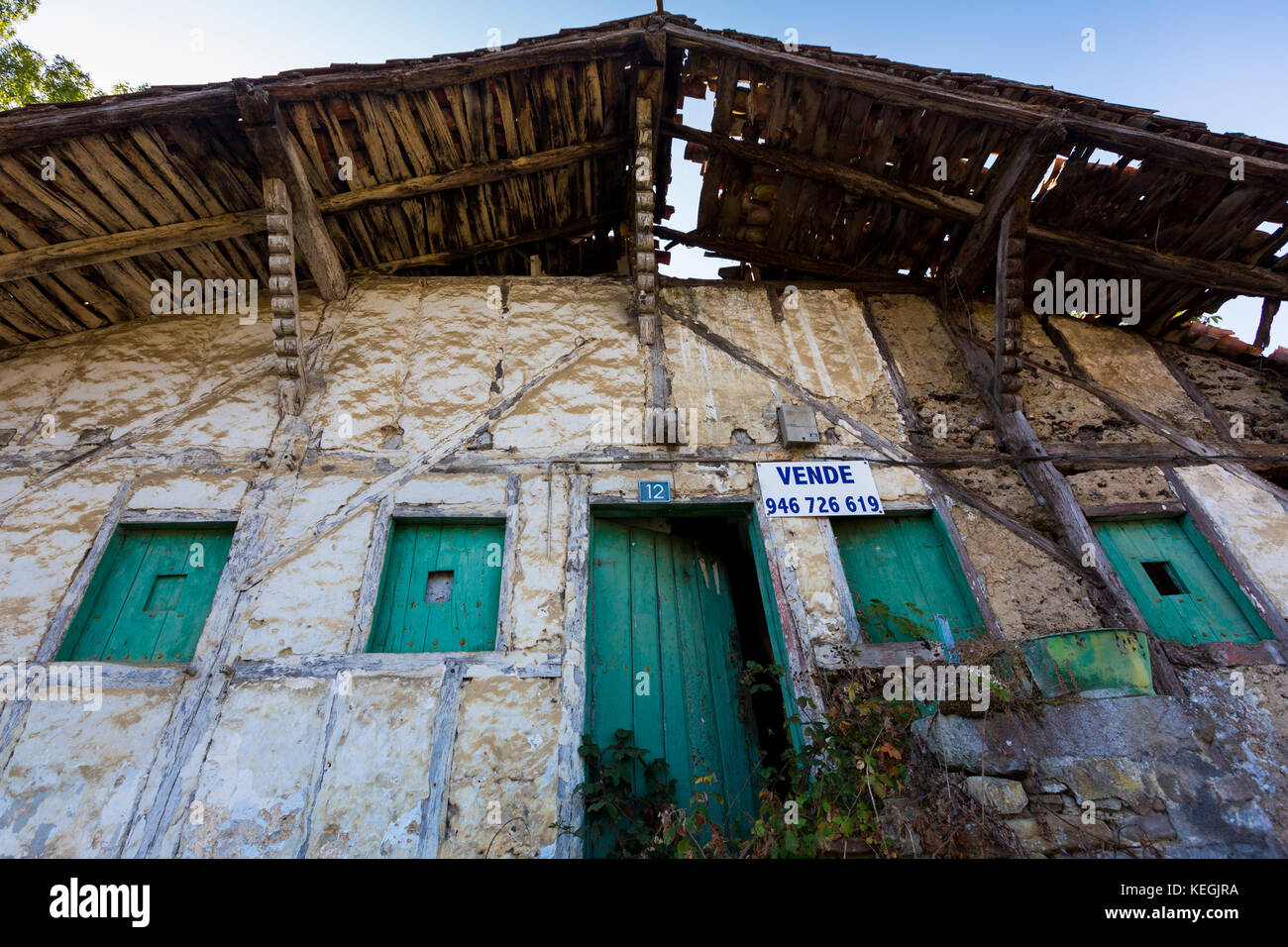 Traditional Basque house for sale in the Biskaia Basque region of Northern Spain - Stock Image