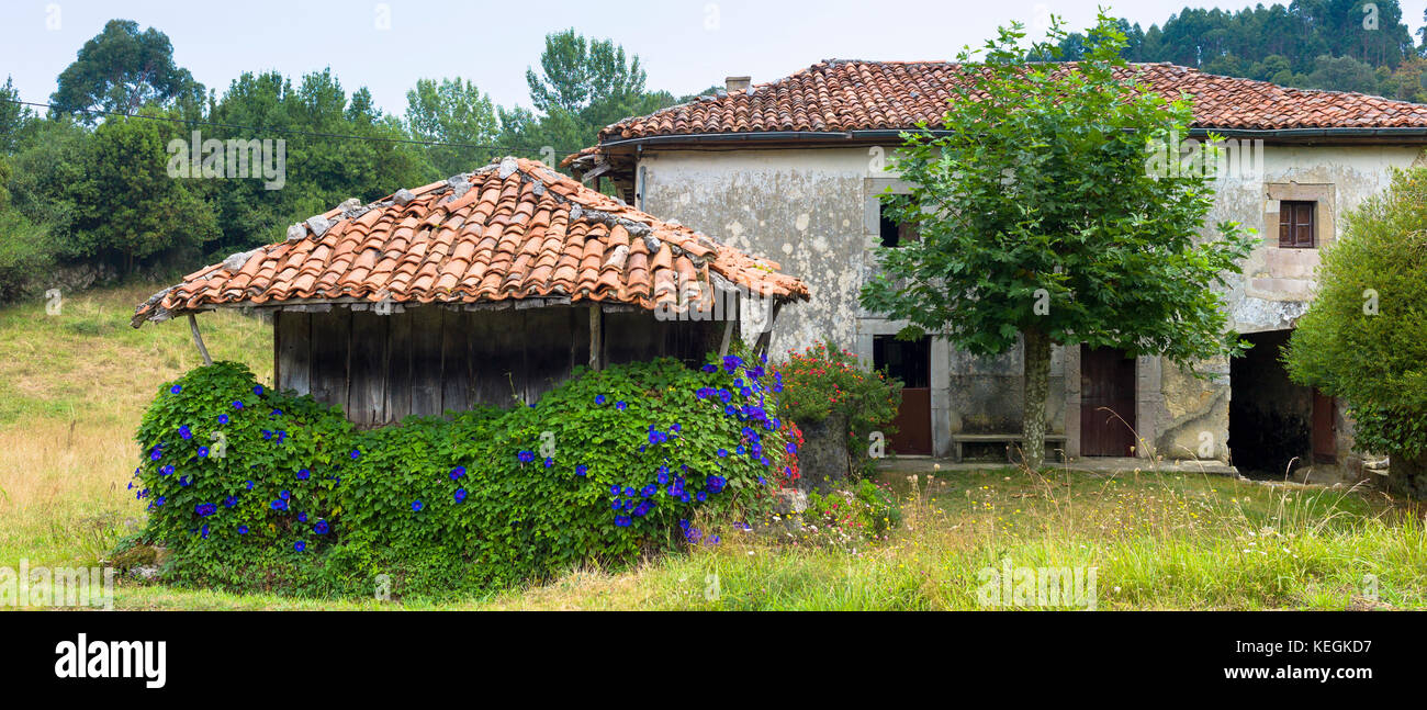 Traditional home with raised hay barn near Valle de Valdeon in Picos de Europa, Northern Spain - Stock Image