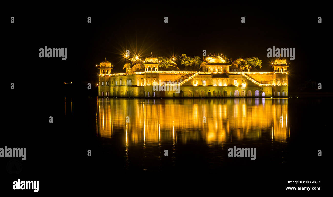 Jal Mahal in the night ' the palace on waters' - Stock Image