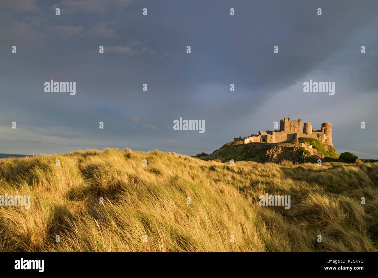 Evening light over Bamburgh Castle, Bamburgh, Northumberland, England, UK - Stock Image