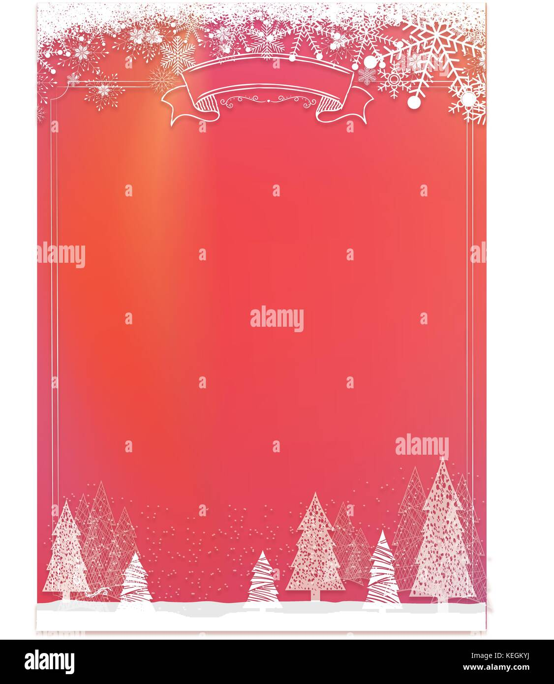 A3 Size Vertical Cafe Menu Classic Winter Christmas Red Background With Snowflake And Xmas Tree Border