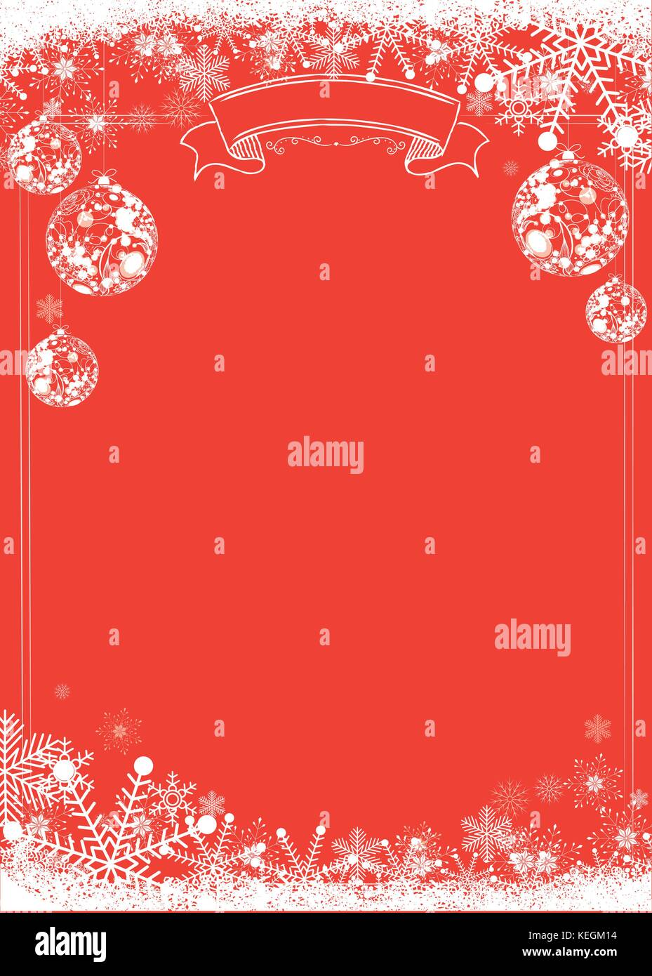 A3 Size Vertical Cafe Menu Classic Winter Christmas Red Background With Xmas Ball And Snowflake Border