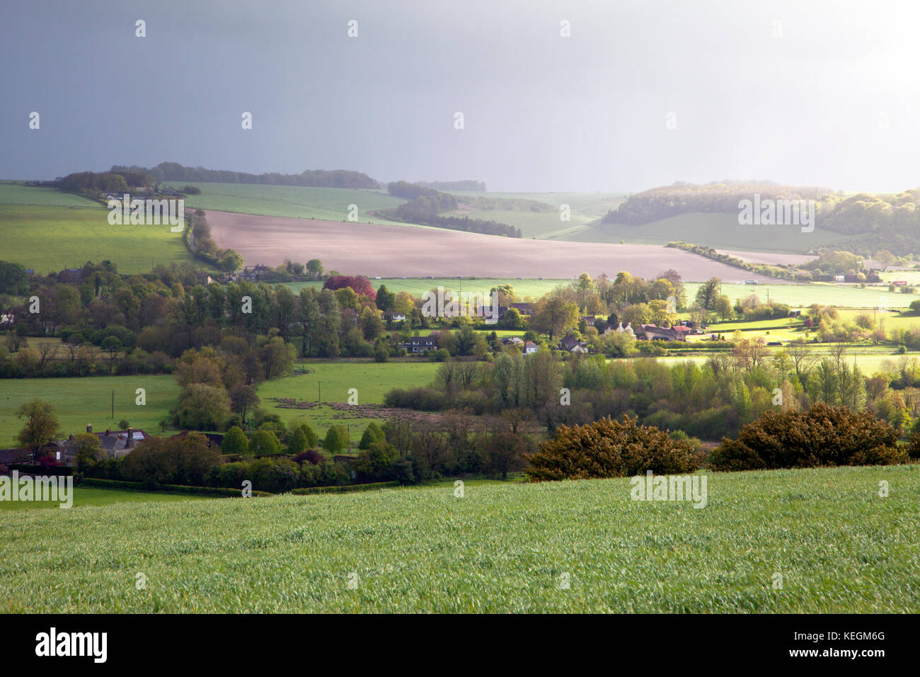 A view of the Wylye Valley at Upton Lovell in Wiltshire. Stock Photo