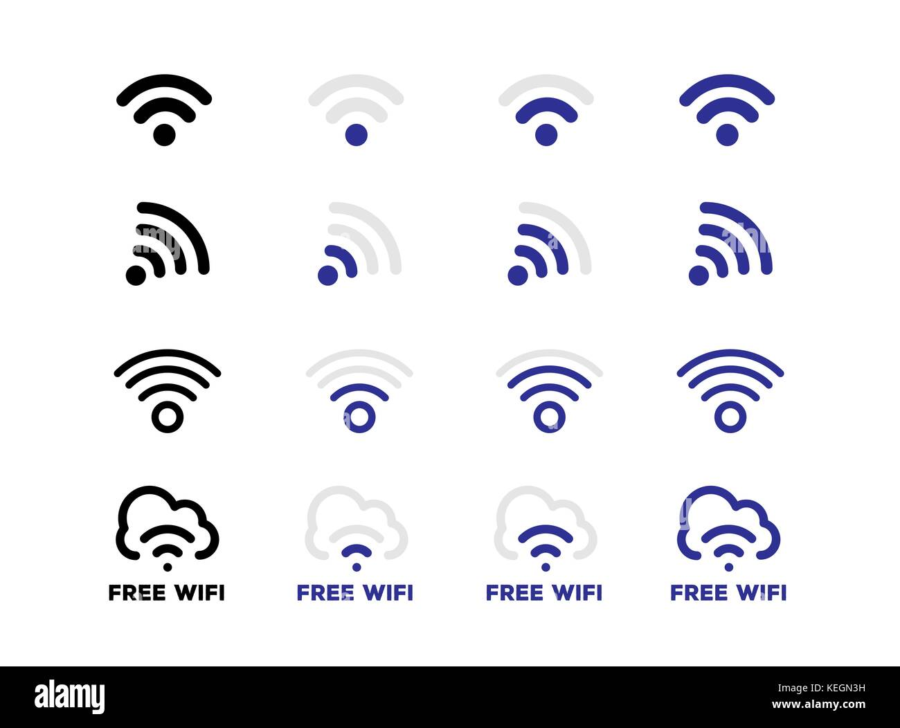 Internet network free Wifi connection icon set in vector format - Stock Image