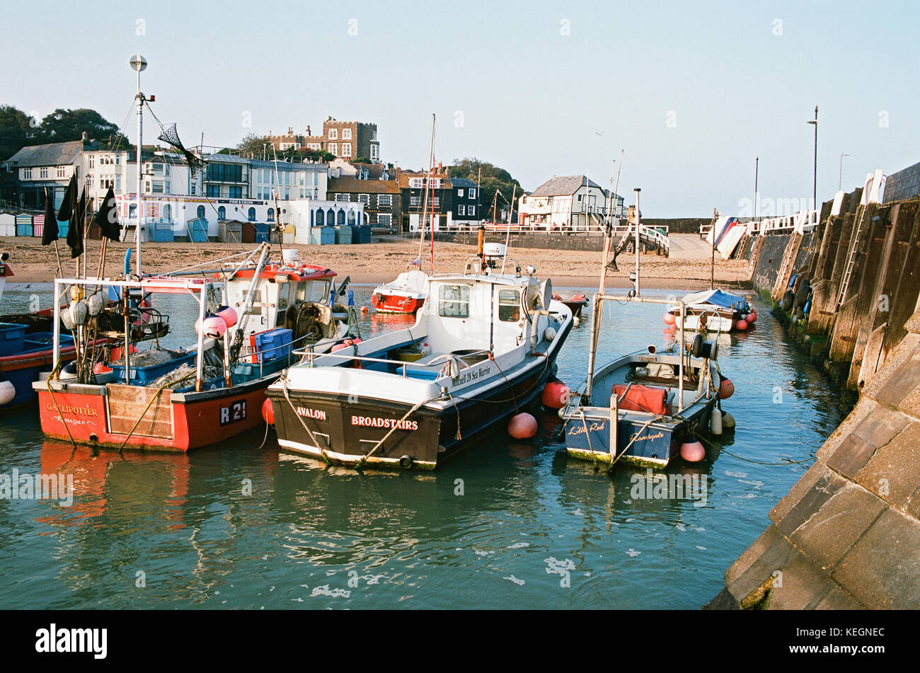 Fishing Boats in Broadstairs Harbour, Isle of Thanet, East Kent, UK - Stock Image