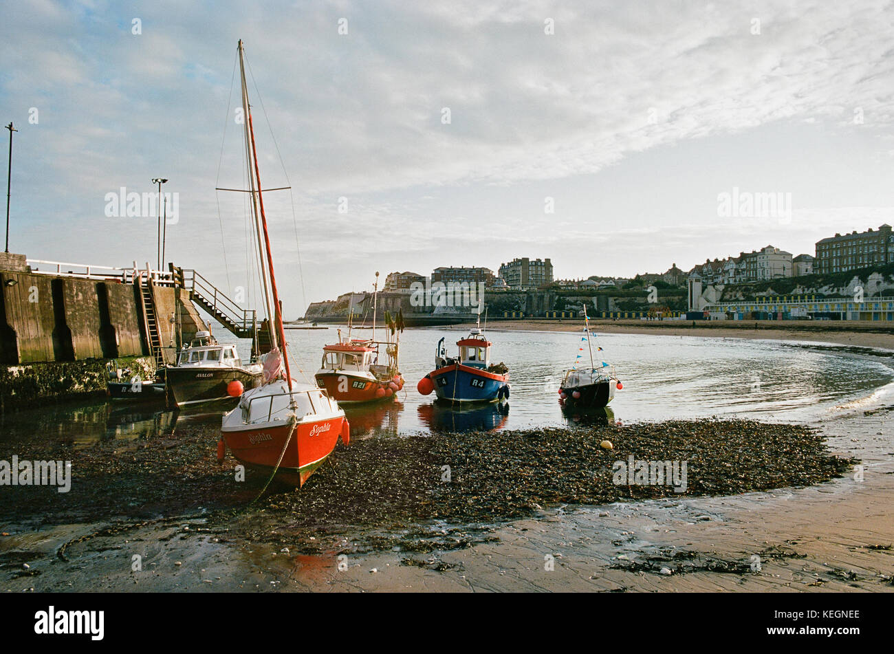 Viking Bay, Broadstairs, Thanet, on the East Kent coast in the early evening - Stock Image
