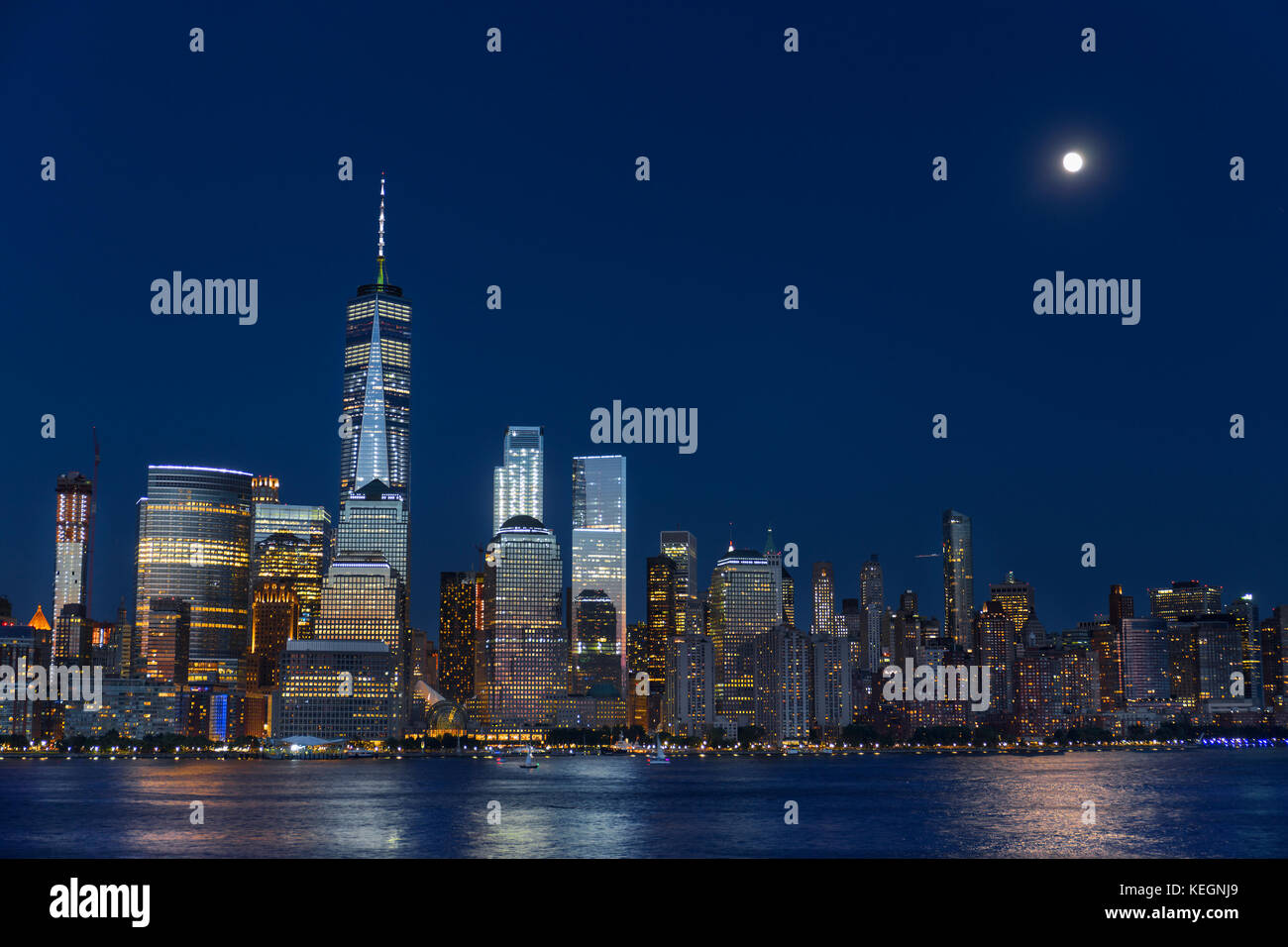 Lower Manhattan Skyline at blue hour, NYC, USA - Stock Image