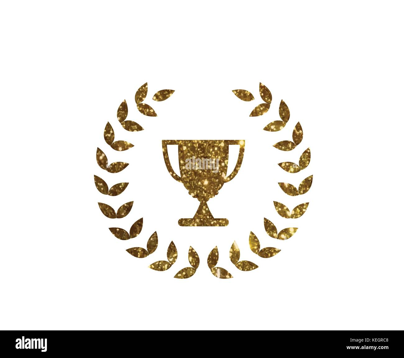 Golden glitter award prize cup in vector format - Stock Vector
