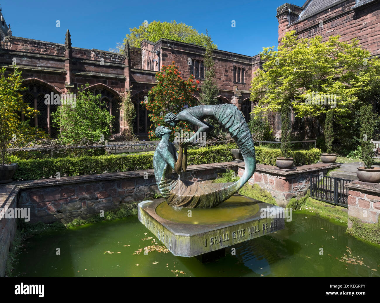 The Water of Life sculpture, The Cloister Garth, Chester Cathedral, Cheshire, England, UK - Stock Image
