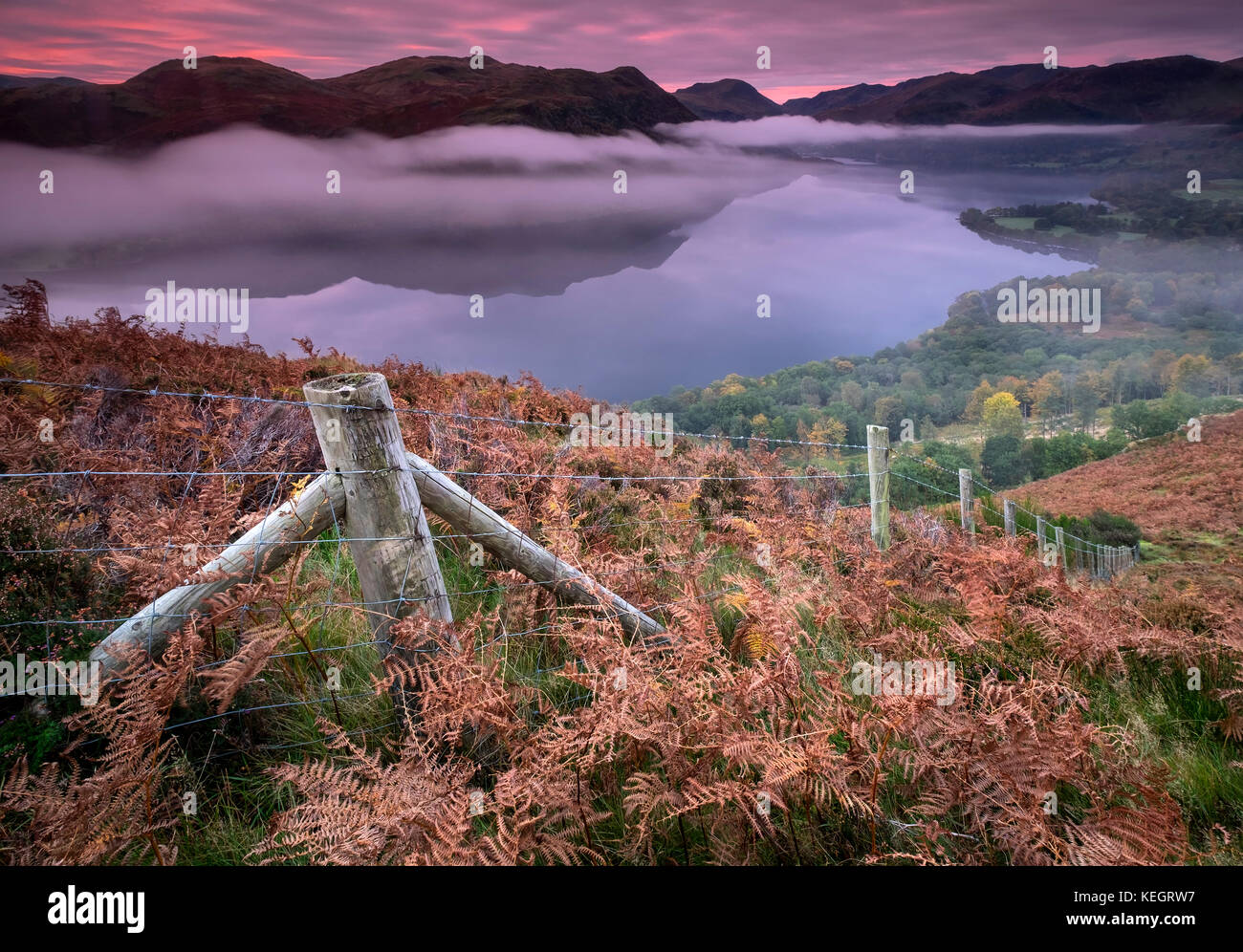 Into the Mist, Ullswater at Dawn from Gowbarrow Fell, Lake District National Park, Cumbria, England, UK - Stock Image